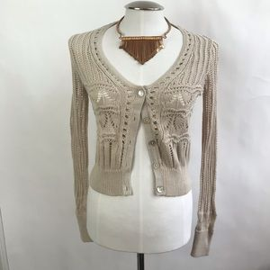 Lucky Brand Button Up Tan Crochet Cardigan